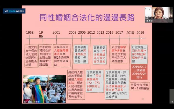 主講人尤美女律師(右上)是民進黨第八屆、第九屆全國不分區立法委員,也是臺灣同婚合法化領軍人物