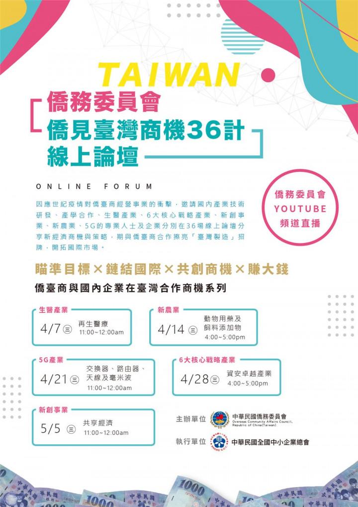 僑務委員會「僑見臺灣商機36計」線上論壇開播