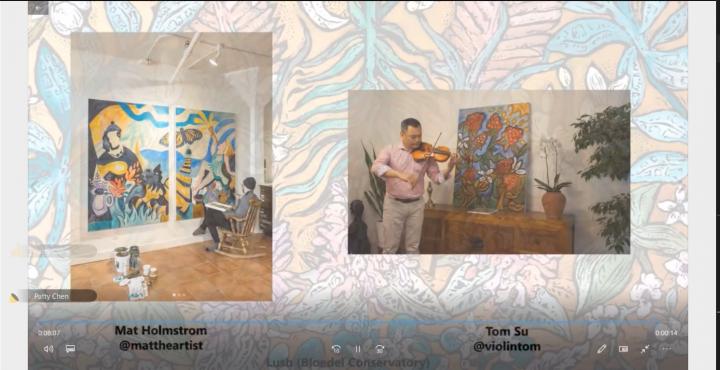節目安排於聆聽蘇聖恩彈奏「望春風」的同時邊欣賞Mat Holmstrom才華洋溢的畫作