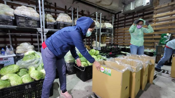 武漢肺炎疫情衝擊,花蓮縣政府輔導各農會及農產運銷 單位開發蔬菜箱宅配,於疫情期間取代實體店面,其中 花蓮縣蔬果合作社推出蔬果宅配箱,每週熱賣700箱,外縣市訂購量占9成。 (民眾提供)