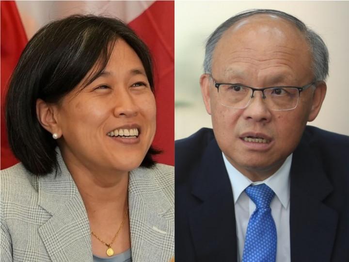 U.S. Trade Representative Katherine Tai (left, image taken from https://focustaiwan.tw/society/202106100015) meets virtually with Taiwan Minister-Without-Portfolio John Deng (right, CNA photo)