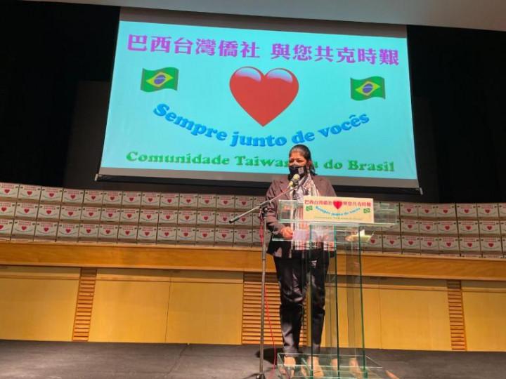 聖保羅城市安全廳 Elza Paulino de Souza 主任指出,最近參加許多華人僑社的活動,讓她感受到華人最美麗的地方,就是這份的愛心,向大家致最高的敬意。(巴西華人資訊網提供)