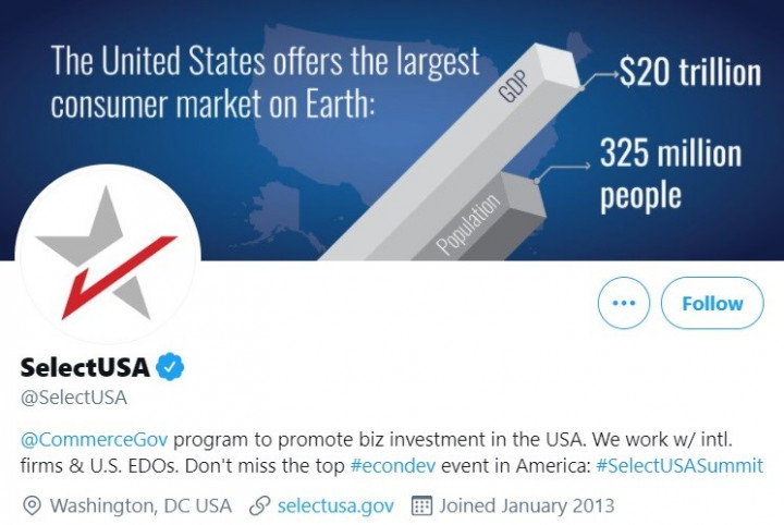 From SelectUSA's Twitter page