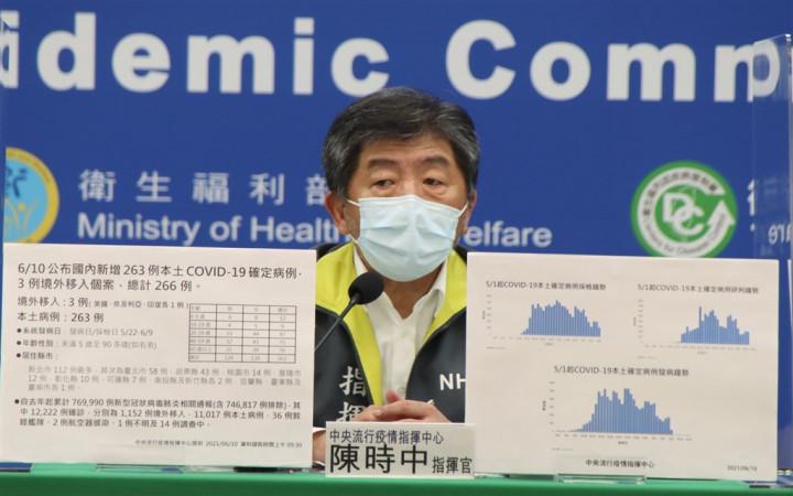 Health Minister Chen Shih-chung hosts Thursday's COVID-19 press briefing. Photo courtesy of the CECC