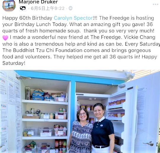 慈濟基金會波士頓聯絡處負責人長金滿(右)日前與該會會員,一起到牛頓市的社區冰箱當義工。