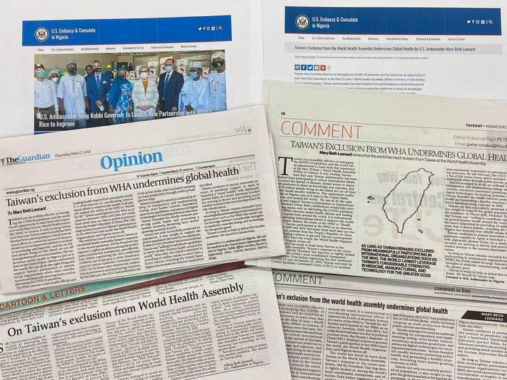 誠摯感謝美國駐奈及利亞大使 Mary Beth Leonard 投書奈國媒體公開支持我國應參與世界衛生大會(WHA)