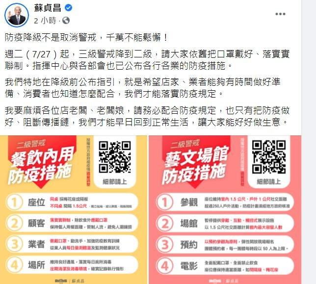 蘇貞昌:防疫降級非取消警戒 千萬不能鬆懈(圖取自蘇貞昌臉書)