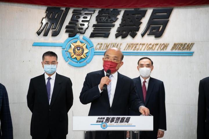 蘇貞昌出席內政部警政署刑事警察局掃黑緝毒記者會