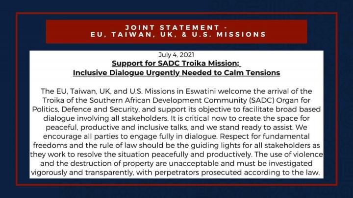我與駐史使節團就南部非洲發展共同體(SADC)政治、國防暨安全機構(organ)派遣特使團來史協助展開對話發表聯合聲明