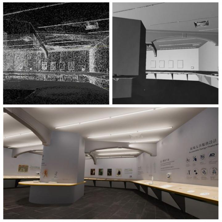 國美館搶先推出雲端博物館2.0版,左上圖為空間點雲建置效果,右上圖為空間模型素面材質效果,下圖為真實材質的模擬渲染,透過技術整合建立開放視角及能夠自由行走的線上博物館