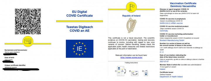 歐洲愛爾蘭疫苗通行證