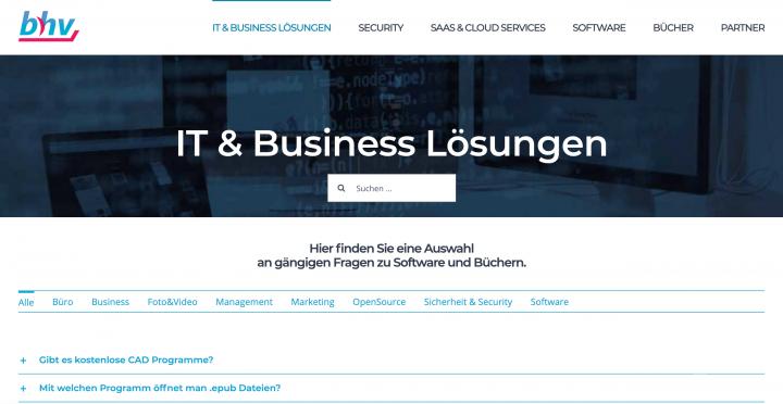 bhv公司首頁,主要業務為資訊安全及商業軟體