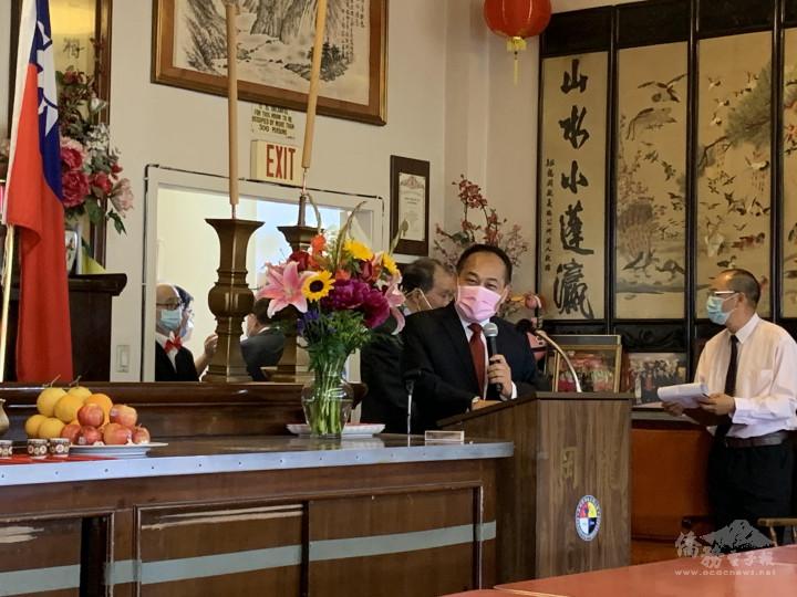 羅省龍岡親義公所舉行醒獅開光暨慶祝建樓72週年紀念祭祖典禮-處長黃敏境致詞
