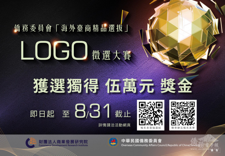 僑委會「海外臺商精品」Logo標誌全球徵件中  頭獎5萬元獎金