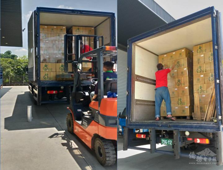 自然果合作社準備把350箱果乾從臺灣運往美國西雅圖