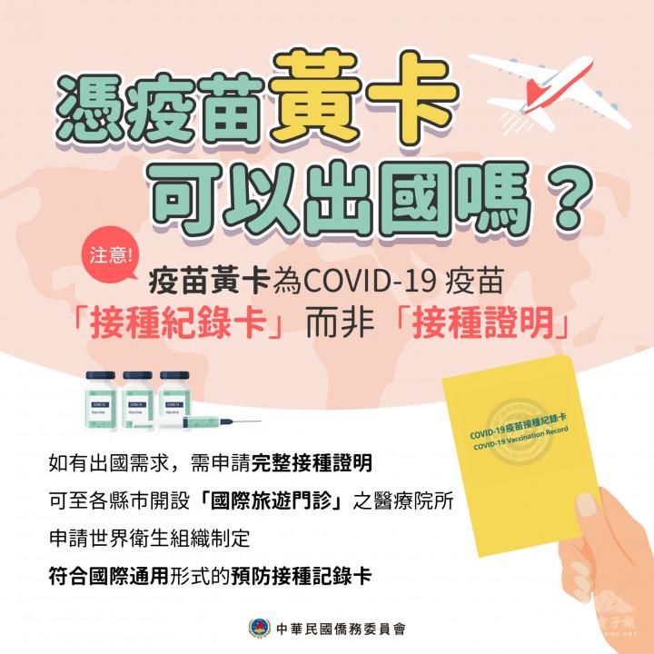 僑委會提醒民眾可到各縣市有開設國際旅遊門診的醫療院所申請符合國際通用形式的預防接種記錄卡