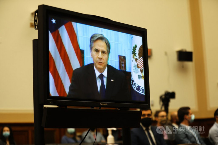 U.S. Secretary of State Antony Blinken attends Monday's congressional hearing virtually.