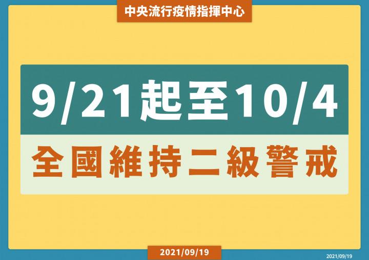 9/21-10/4全國維持二級緊戒