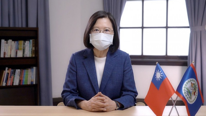 President Tsai addresses an online event celebrating the 40th anniversary of the independence of Belize.