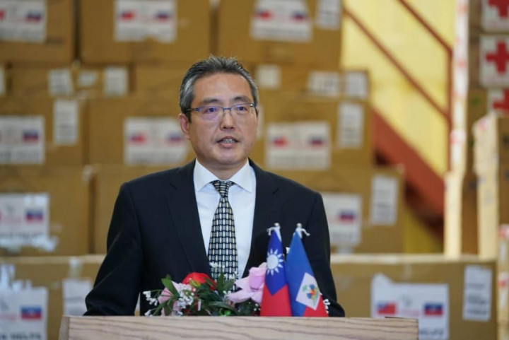古大使致詞強調這批飛越15,000公里的物資展現臺灣對海地的關懷