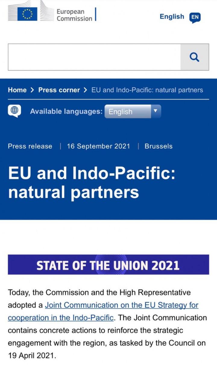 歐盟執委會發布「歐盟印太合作戰略共同報告」關切台海安全情勢