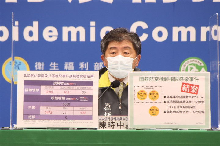 Health Minister Chen Shih-chung talks about the two clusters of COVID-19 infections during Saturday's press briefing. Photo courtesy of the CECC