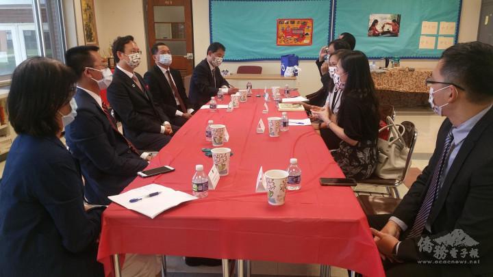 紐澤西州2所臺灣華語文學習中心揭牌典禮,委員長童振源一行與中心負責人座談