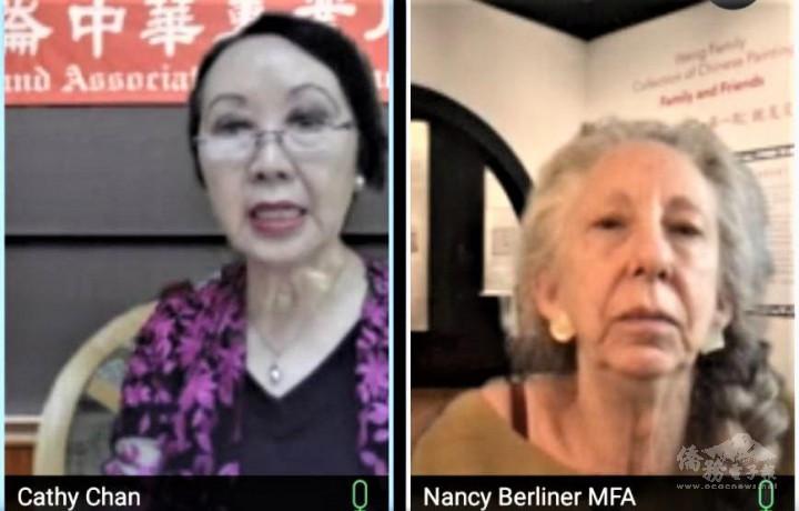紐英崙中華專業人員協會董事譚嘉陵(左)主持會議,波士頓美術博物館中國藝術部主任白鈴安(Nancy Berliner,右)闡述「MFA的中華藝術品收藏」。