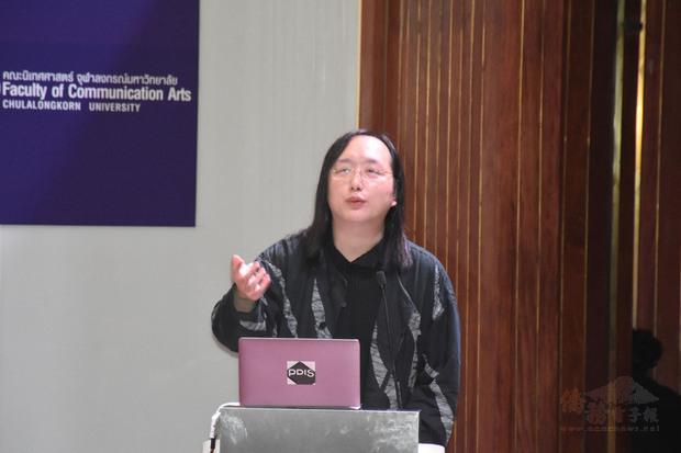 政務委員唐鳳以「如何在數位時代達到永續發展的目標」為題,在泰國發表演講。(中央社提供)