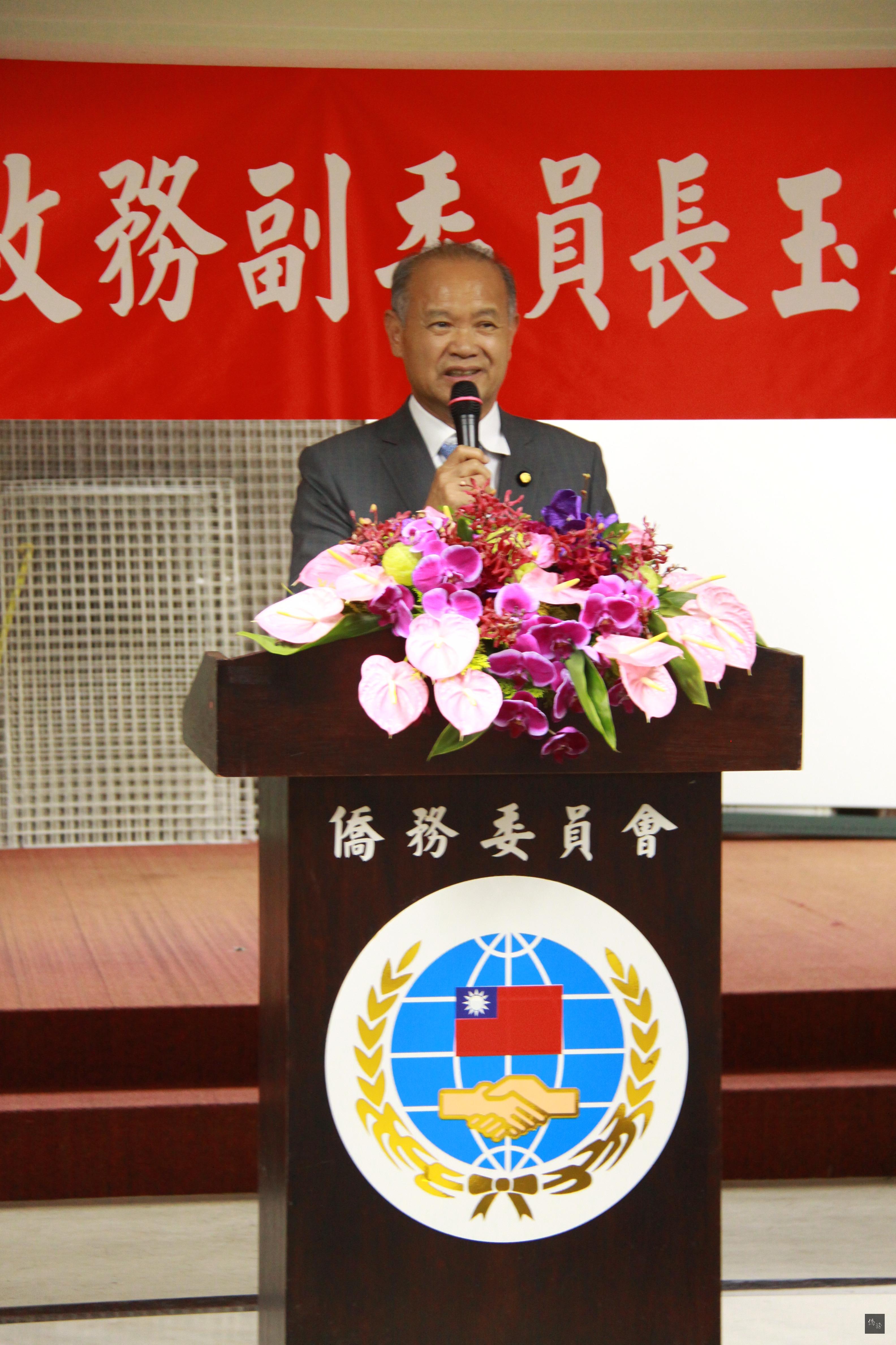國策顧問黃正勝致詞祝福僑委會副委員長陳玉梅。