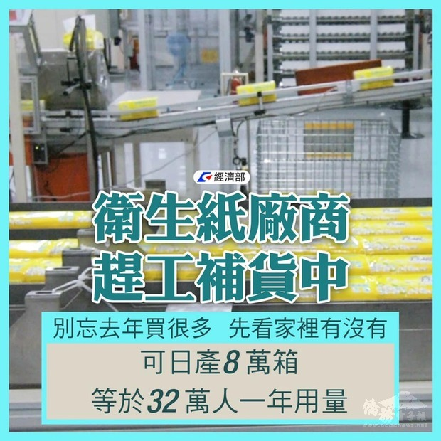 衛生紙可日產8萬箱,等於32萬人一年用量