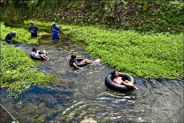 五溝水水質乾淨、水流和緩,炎熱夏季在清涼河流中戲水,暑氣全消。(自由時報提供)