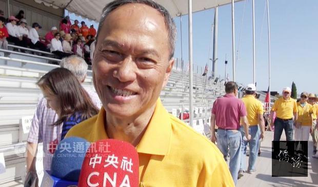 僑務委員會委員長吳新興於當地時間9日出席第33屆金山灣區華人運動大會。他說,非常敬佩舊金山地區僑胞連續33年舉辦運動大會。(中央社提供)