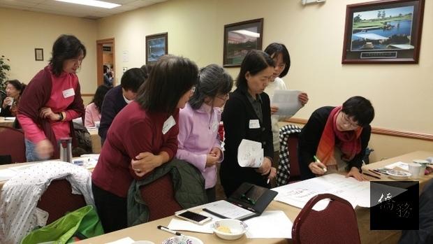 僑委會新編教材《學華語向前走》教學觀摩及教材使用分享會,中文教師分組討論,集思廣益。