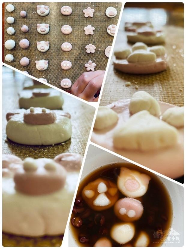 學生們充分發揮了創意,不只做了傳統的紅白湯圓,還做出各種造型湯圓。