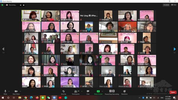 世華副總會長洪呂麗月和六個分會為慶祝母親節共同舉辦線上講座上線姐妹們合影