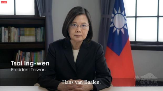蔡總統預錄影片,表達台灣政府哀悼之意及對范主席生前無私支持台灣民主之感念。
