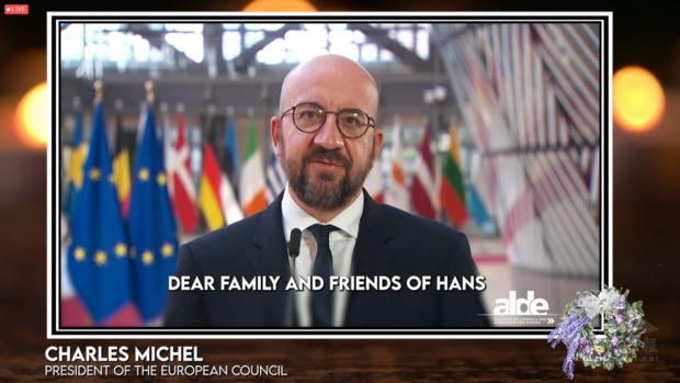 歐洲理事會主席米歇爾預錄影片