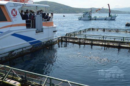 謝代表參觀鹿屋市的紅魽魚養殖場。