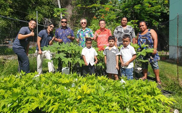 駐諾魯大使王海龍邀請諾魯民眾採收蔬菜