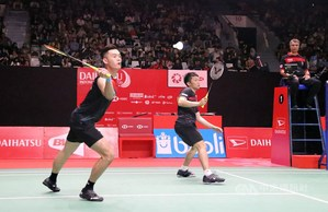 Taiwan's Lee and Wang in a quarterfinal match at Indonesia Masters on Friday./Photo courtesy of CNA