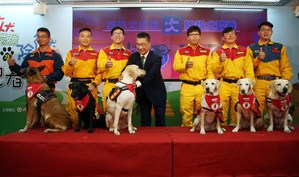 6 national search and rescue dogs were conferred officer ranks on Monday / Photo courtesy of CNA
