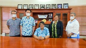 Foreign Minister Joseph Wu (second left) meets with new Palau President Surangel Whipps Jr. (center). Photo courtesy of the Ministry of Foreign Affairs.