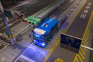 Automated bus running on Xinyi Road bus lane