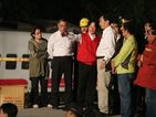 Premier Lai Ching-te (third left wearing red vest) at the scene of the accident Sunday/Photo courtesy of CNA