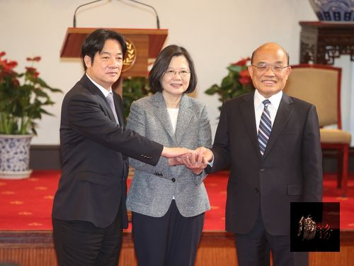 Outgoing Premier Lai Ching-te, President Tsai Ing-wen and Premier-designate Su Tseng-chang./Photo courtesy of CNA