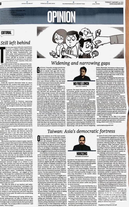 菲律賓每日詢問報(Philippine Daily Inquirer)14日刊登政治分析家海達里安(Richard Heydarian)的評論「台灣:亞洲的民主堡壘」(右下)。(駐菲代表處提供)